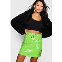 Womens High Shine Vinyl A Line Skirt - green - 6, Green