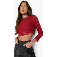Womens Premium Lace Crop Top - Red - S, Red