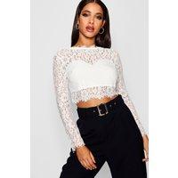 Womens Premium Lace Crop Top - White - M, White
