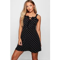 Womens Ruffle Polka Dot Slip Dress - black - 12, Black