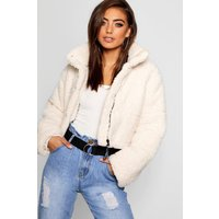 Womens Crop Fleece Oversized Puffer Jacket - white - 10, White
