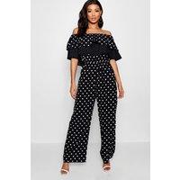 Womens Mix And Match Spot Ruffle Jumpsuit - Black - 8, Black
