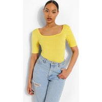 Womens Basic Square Neck Short Sleeve Bodysuit - Yellow - 14, Yellow