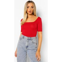 Womens Basic Square Neck Short Sleeve Bodysuit - Red - 14, Red