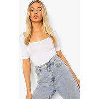 Womens Basic Square Neck Short Sleeve Bodysuit - White - 8, White