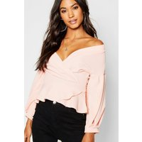 Womens Bell Sleeve Wrap Over Top - pink - 14, Pink
