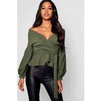 Womens Bell Sleeve Wrap Over Top - Green - 8, Green