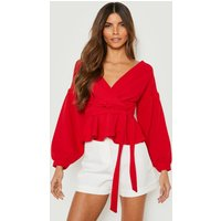 Womens Bell Sleeve Wrap Over Top - Red - 10, Red