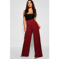 Womens High Waisted Woven Wide Leg Trousers - red - 8, Red
