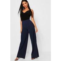 Womens High Waisted Woven Wide Leg Trousers - Navy - 16, Navy