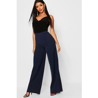 Womens High Waisted Woven Wide Leg Trousers - navy - 16, Navy