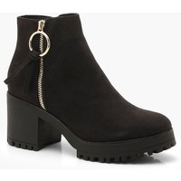 Womens O Ring Zip Trim Cleated Ankle Shoe Boots - black - 3, Black