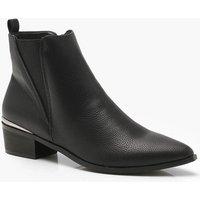 Womens Pointed Toe Metallic Trim Chelsea Boots - black - 3, Black
