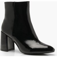 Womens Block Heel Pointed Shoe Boots - black - 3, Black