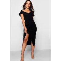 Womens Off the Shoulder Wrap Skirt Midi Dress - black - 14, Black