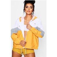 Womens Hooded Panelled Windbreaker - Yellow - M, Yellow