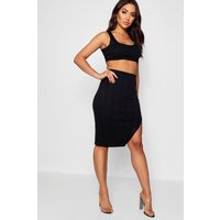 Womens Bandage Skirt and Crop Top Co-ord Set - black - 14, Black