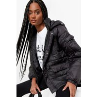 Womens Oversized Hooded Puffer Jacket - Black - 16, Black