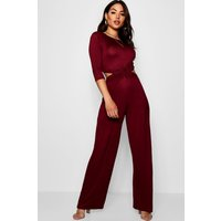 Womens Twist Front 3/4 Sleeve Culotte Jumpsuit - red - 8, Red