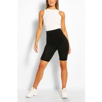 Womens Basic Solid Black Cycling Shorts - 8, Black