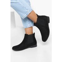 Womens Wide Fit Suedette Flat Chelsea Boots - Black - 4, Black