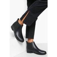 Womens Wide Fit Flat Chelsea Boots - Black - 4, Black