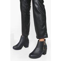Womens Wide Fit Zip Side Chunky Heel Chelsea Boots - Black - 5, Black