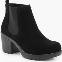 Womens Wide Fit Suedette Cleated Heel Chelsea Boots - black - 7, Black