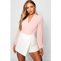 Womens Wrap Chiffon Sleeve Bodysuit - pink - 8, Pink