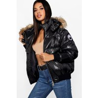 Womens Faux Fur Trim Cire Puffer Jacket - Black - 8, Black