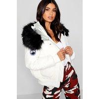Womens Black Faux Fur Hood Crop Puffer - White - 14, White