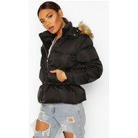 Womens Matte Satin Faux Fur Trim Puffer Jacket - Black - 10,