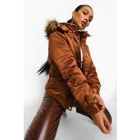 Womens Matte Satin Faux Fur Trim Puffer Jacket - Brown - 14,