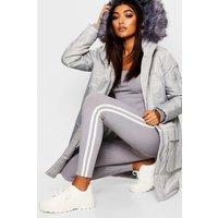 Womens Faux Fur Trim Sporty Parka - grey - 8, Grey