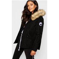 Womens Luxe Faux Fur Sporty Parka - Black - 8, Black