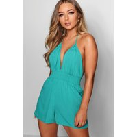 Womens Basic Deep Plunge Ruched Waist Playsuit - green - 12, Green