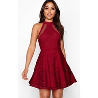 Womens Lace High Neck Skater Dress - red - 14, Red