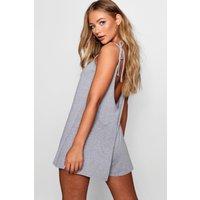 Womens Low Back Tie Shoulder Playsuit - Grey - 10, Grey