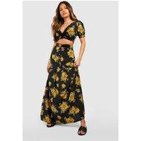 Womens Vic Floral Plunge Maxi Skirt Co-ord Set - black - 10, Black