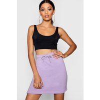 Womens Basic Sweat Pastel Mini Skirt - purple - 10, Purple