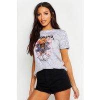 Womens Metallica Washed Slogan T-Shirt - grey - M, Grey
