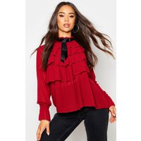 Womens Ruffle Front Full Sleeve Blouse - red - 10, Red