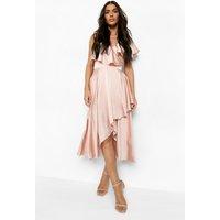 Womens Satin Wrap Detail Skater Dress - pink - 14, Pink