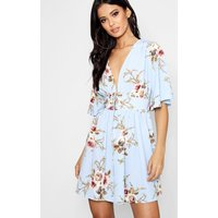 Womens Lace Up Front Angel Sleeve Skater Dress - blue - 10, Blue
