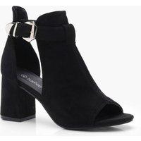 Womens Buckle Cut Work Shoe Boots - Black - 4, Black