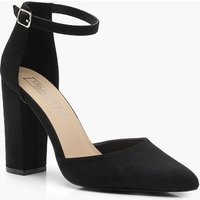 Womens Pointed Ankle Strap Heels - black - 5, Black