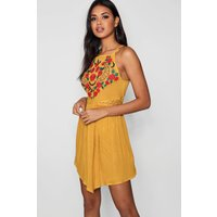Womens Square Neck Embroidered Skater Dress - yellow - 12, Yellow
