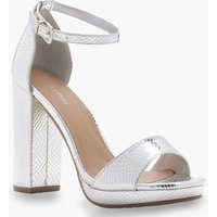 Womens Wide Fit Snake Metallic Platform Heels - grey - 3, Grey