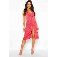 Womens Boutique Satin Polka Dot Wrap Slip Dress - Red - 16, Red