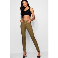 Womens Mid Rise Distressed Knee Skinny Jeans - green - 6, Green
